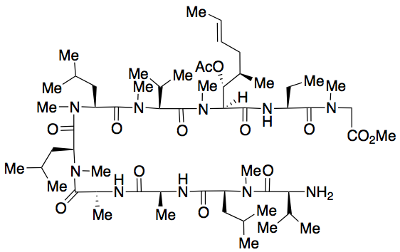 L-Valyl-N-methyl-L-leucyl-L-alanyl-D-alanyl-N-methyl-L-leucyl-N-methyl-L-leucyl-N-methyl-L-valyl-(2S,3R,4R,6E)-3-(acetyloxy)-4-methyl-2-(methylamino)-6-octenoyl-(2S)-2-aminobutanoyl-N-methyl-glycine Methyl Ester