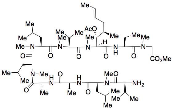 L-Valyl-N-methyl-L-leucyl-L-alanyl-D-alanyl-N-methyl-L-leucyl-N-methyl-L-leucyl-N-methyl-L-valyl-(2S,3R,4R,6E)-3-(acetyloxy)-4-methyl-2-(methylamino)-6-octenoyl-(2S)-2-aminobutanoyl-N-methyl-glycine Methyl Ester