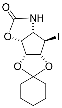 (1R,2R,3R)-(4S)-Amino-1,2,3-trihydroxy-(5R)-iodocyclopentane 3,4-Carbamate 1,2-Cyclohexyl Ketal