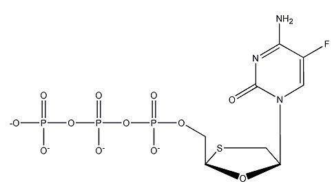(-)-'-L-2',3'-Dideoxy-5-fluoro-3'-thiacytidine-5'-triphosphate, tetraammonium salt