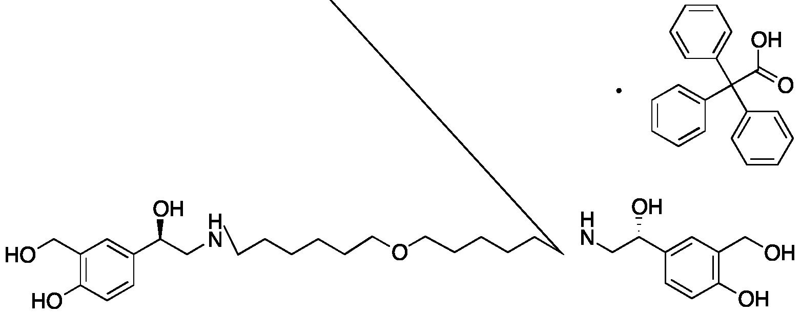4,4'-((1R,1'R)-((Oxybis(hexane-6,1-diyl))bis(azanediyl))bis(1-hydroxyethane-2,1-diyl))bis(2-(hydroxymethyl)phenol) 2,2,2-Triphenylacetate