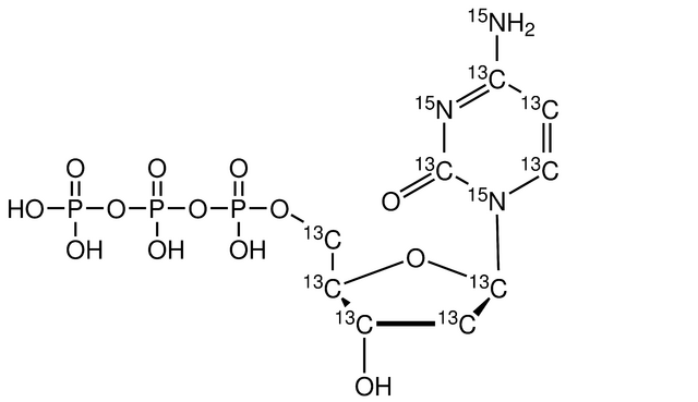 2'-Deoxycytidine 5'-triphosphate-<sup>13</sup>C<sub>9</sub><sup>15</sup>N<sub>3</sub> (Li Salt) 100 mM solution in 5 mM Tris (pH 7.5)