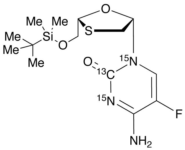 4-Amino-1-((2R,5S)-2-((tert-butyldimethylsilyloxy)methyl)-1,3-oxathiolan-5-yl)-5-fluoropyrimidin-2(1H)-one-<sup>13</sup>C,<sup>15</sup>N<sub>2</sub>