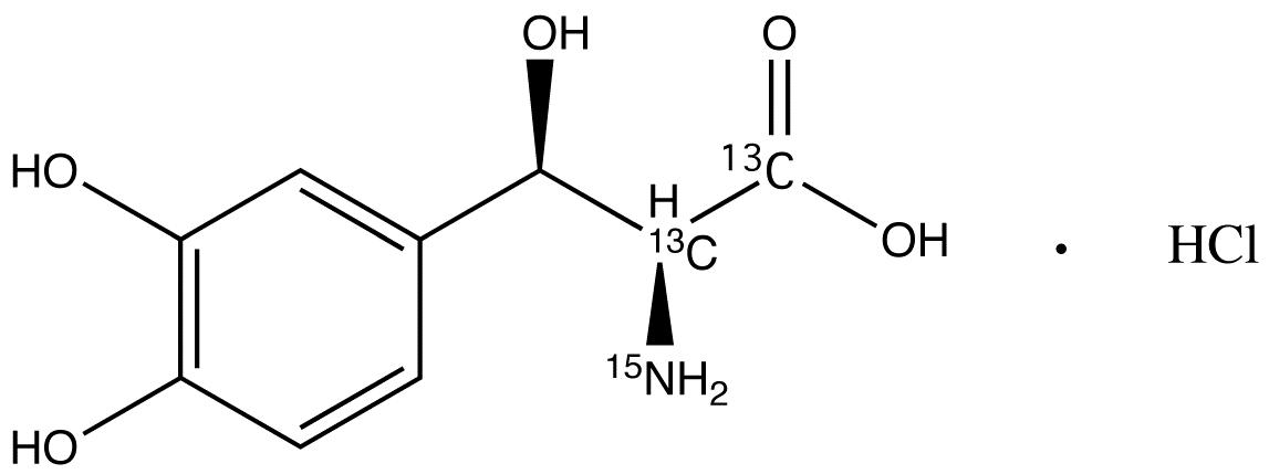 DL-threo-Droxidopa-<sup>13</sup>C<sub>2</sub>,<sup>15</sup>N hydrochloride