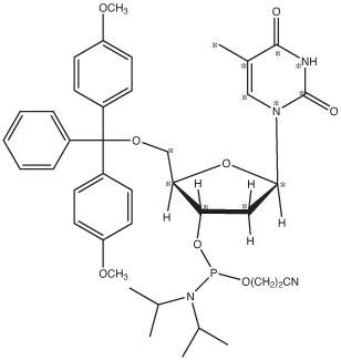 Thymidine-<sup>13</sup>C<sub>10</sub>,<sup>15</sup>N<sub>2</sub>-Phosphoramidite
