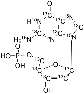 2'-Deoxyguanosine 5'-monophosphate-<sup>13</sup>C<sub>10</sub>,<sup>15</sup>N<sub>5</sub> (Li<sub>2</sub> Salt) solution in Tris buffer