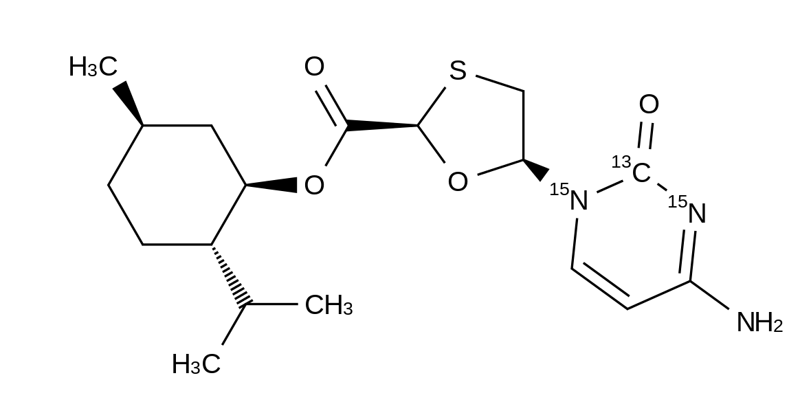 (2R,5S)-L-Menthol-5-(4-amino-2-oxo-1(2H)-pyrimidinyl-<sup>15</sup>N<sub>2</sub>,<sup>13</sup>C)-1,3-oxathiolane-2-carboxylate