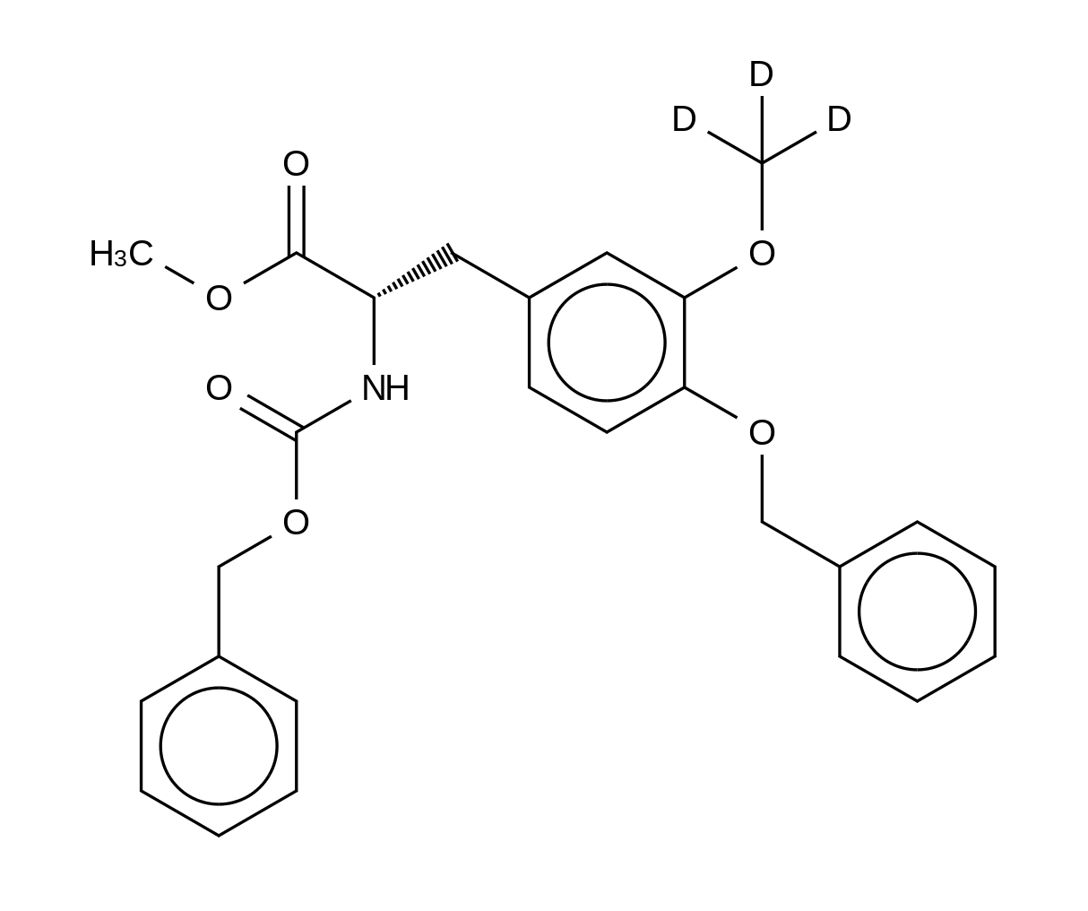4-O-Benzyl-N-[(benzyloxy)carbonyl]-3-O-methyl-L-DOPA-d<sub>3</sub> Methyl Ester