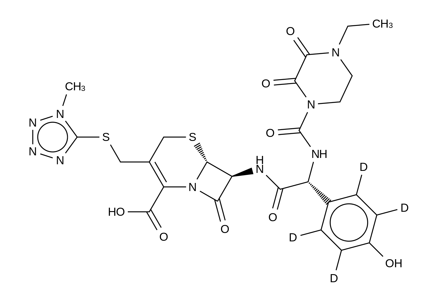 (6R,7S)-Cefoperazone-d<sub>4</sub>