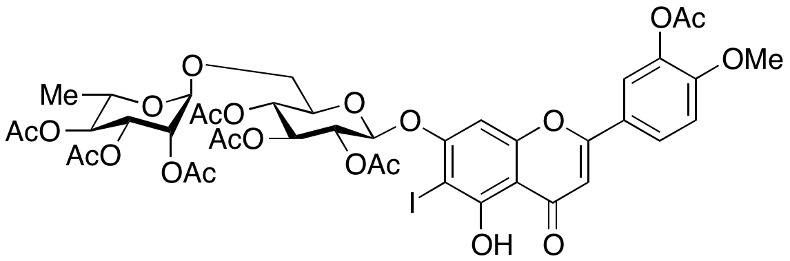 2-[3-(Acetyloxy)-4-methoxyphenyl]-5-hydroxy-6-iodo-7-[[2,3,4-tri-O-acetyl-6-O-(2,3,4-tri-O-acetyl-6-deoxy-α-L-mannopyranosyl)- β-D-glucopyranosyl]oxy]-4H-1-benzopyran-4-one
