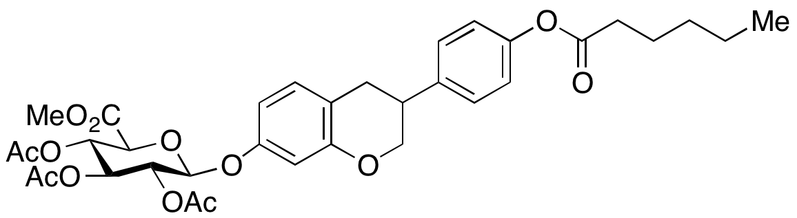 (R,S)-Equol Hexanoate 3,4-O-Triacetyl-4'-O- β-D-glucuronide Methyl Ester